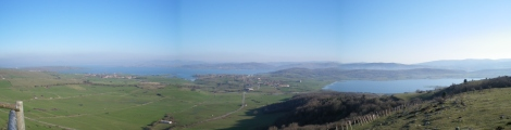 View over the Ebro reservoir from the Ermita de la Virgen de las Nieves, Monegro.