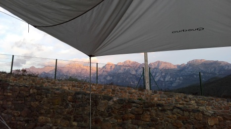 Sunrise over the Picos de Europa from Camping La Viorna