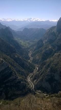 Hermida gorge and Picos de Europa from the Mirador de Santa Catalina