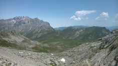 View into the Aliva valley from the pass